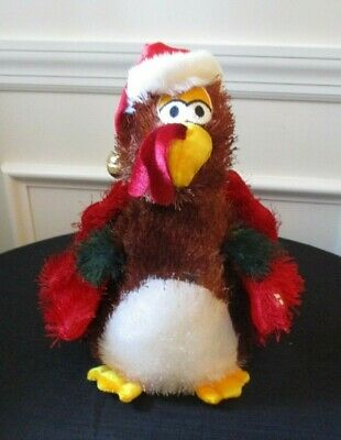 Dan Dee Singing Animated Toy Turkey with Santa Hat for ThanksgivingChristmas