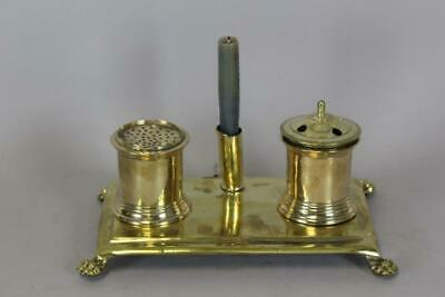 RARE CLAW FOOT 18TH C BRASS STANDISH - INK STAND INK POT SANDER AND A CANDLE CUP