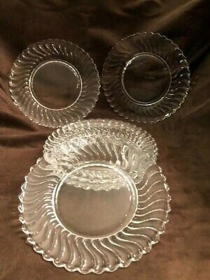 Set of 6 Fostoria Colony 2412 Swirl Crystal 7 ¼ SaladLuncheon Plates