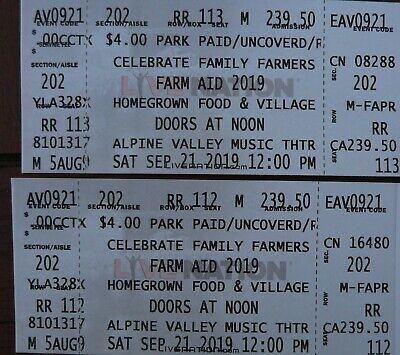 Farm Aid 2019 Reserved 2 Tickets Sec-202 Row RR Concert Tickets 9-21-19