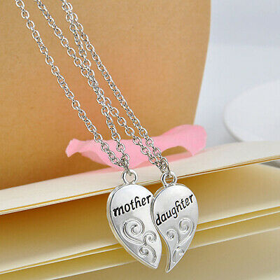 2pcsset Mothers Day Gift Pendant Necklace Stainless Steel Love Heart Jewelry