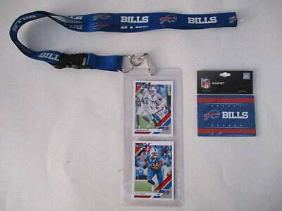 BUFFALO BILLS LANYARD WITH TICKET HOLDER PLUS 2 PLAYER CARDS AND TEAM MAGNET