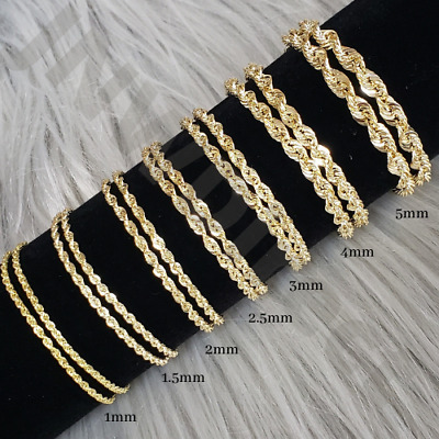 10K Solid Yellow Gold Necklace Rope Chain 16 - 30 1mm 1-5mm 2mm 2-5mm 3mm 4mm