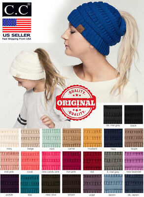 C-C Adult Kids Soft Stretch Cable Knit Messy High Bun Ponytail Beanie cc hat