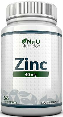 ZINC Tablets 40mg 365 Tablets 12 Months Supply Incredible Value