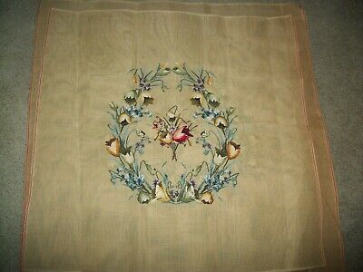 Vintage Preworked Floral NEEDLEPOINT  Large Canvas