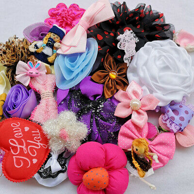Assorted 40pcs Ribbon Flower Bows Rose Craft Appliques Patches