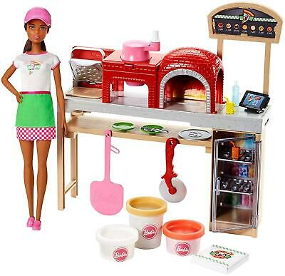 Barbie Pizza Chef Doll and Playset Brunette Mattel CHOP