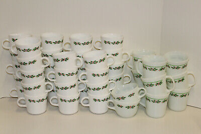 Corelle Pyrex Pyroceram Holly Days by Corning Platter Plate Mug Cup Saucer