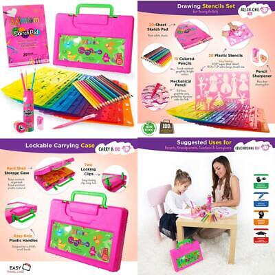 Mimtom Drawing Stencils For Kids And Girls  58 Pc Stencil Kit With 370- Shapes