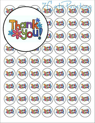 63 Thank You Envelope Seals with Flowers Labels Stickers 1 Round Circles