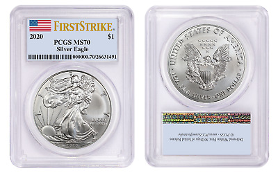 2020 1 American Silver Eagle PCGS MS70 First Strike Flag Label