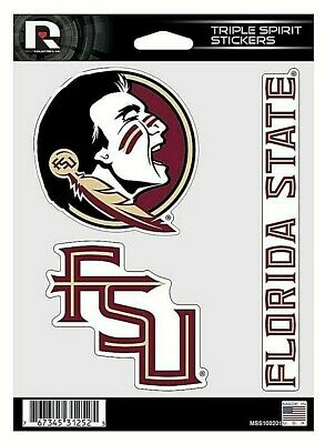 Florida State NCAA Triple Spirit Stickers  Decals  3 Pack Free Shipping