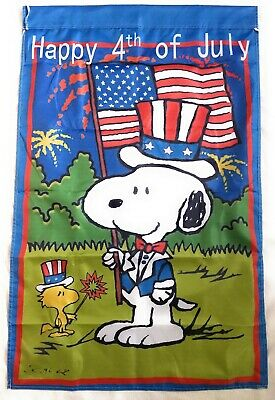 Snoopy Woodstock 4th of July 28x40 in- House Flag SummerSpring Double Sided