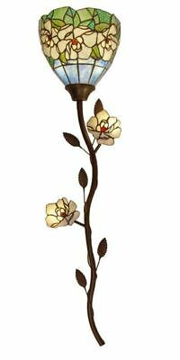 43H Magic Magnolia Stained Glass LED Wallchiere w Remote Control