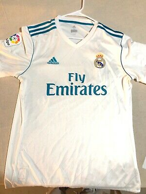 REAL MADRID ADIDAS AUTHENTIC SOCCER JERSEY Large WHITE FLY EMIRATES