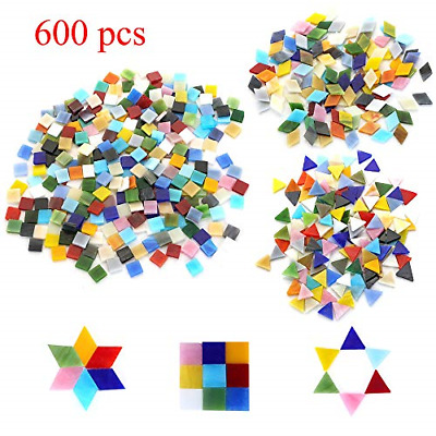 600pcs Bulk Mosaic Tile Assortment Mixed Colors Stained Glass Square Triangle