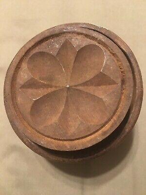 Antique Primitive Butter Mold Flower Stamp Press Plunger Vintage