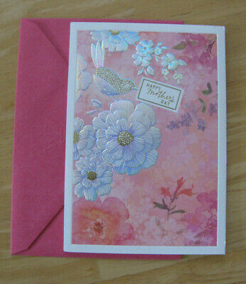 New Hallmark Mothers Day Card wPink Envelope Flowers - Bird FREE SHIPPING