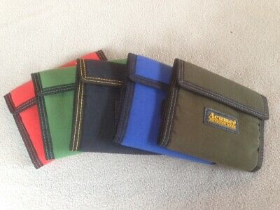 Acumer Canvas 3 Fold Wallet Velcro Close 8 Pockets TriFold Colors Vary NEW