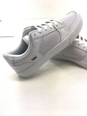 SUPRA Vaider White Perforated Leather Low Top Skate Shoe Sneakers Mens 9
