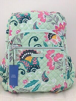 Vera Bradley Iconic Campus Backpack Mint Flowers NWT