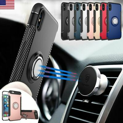 Magnetic Ring Car Mount Mobile Phone Stand Case Cover For iPhone X876 Plus