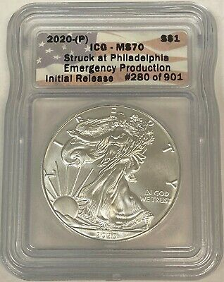 2020 P Silver Eagle ICG MS70 Emergency Production 1901