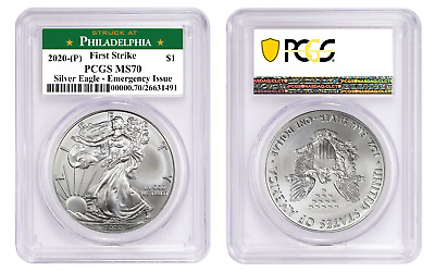 2020 P 1 American Silver Eagle PCGS MS70 First Strike Emergency Production