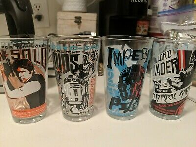 Star Wars Set of 4 Collectible Drinking Glasses 10 oz-