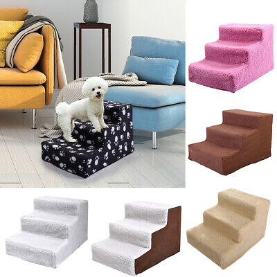 Dog Stairs 3 Steps Portable Cat Dog Ladder wCover Step Ramp Climb for Pet Play