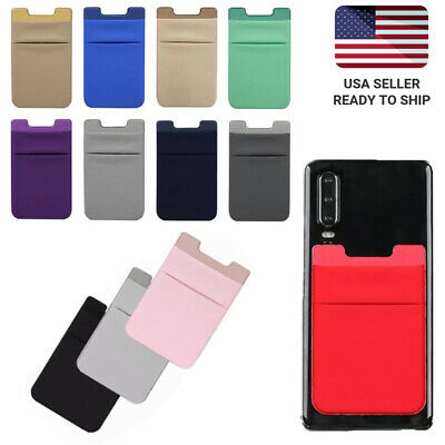 Two Pockets Cell Phone Credit Card Holder Wallet Sticker Key Adhesive Lycra