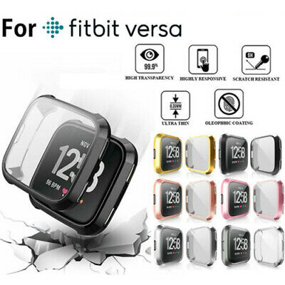 Fo Fitbit Versa 2 2019 Silicone TPU Shell Case Screen Protector Frame Full Cover