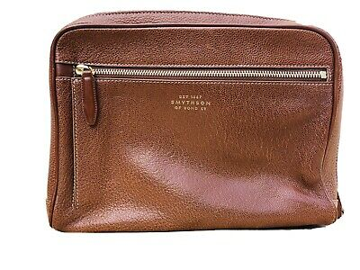 SMYTHSON OF BOND STREET MAKE-UP TRAVEL TOILETRY BROWN LEATHER BAG COMPARTMENT