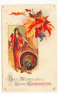Happy Thanksgiving Indian Maiden - Turkey Postcard 1914 Winsch Embossed Leaves Z