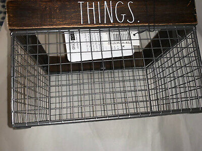 Rae Dunn THINGS Wire Basket Wooden Rustic Farmhouse Home Decor Storage NEW