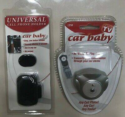 Car Baby Cell Phone Stereo Transmitter Adapter-Universal Holder Use in any Car