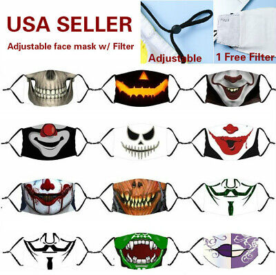Zombie Adjustable Cotton Face Mask Washable Reusable Halloween 3 - Layer filter
