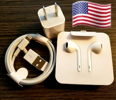All iPhone Accessories Wall Charger Cable-  Earphones 7 8 X11 - 12