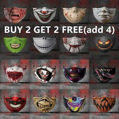 3D Mouth Mask Printed Funny Face Mask Breathable Protection Washable