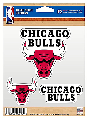 Chicago Bulls NBA Triple Spirit Stickers  Decals  3 Pack Free Shipping