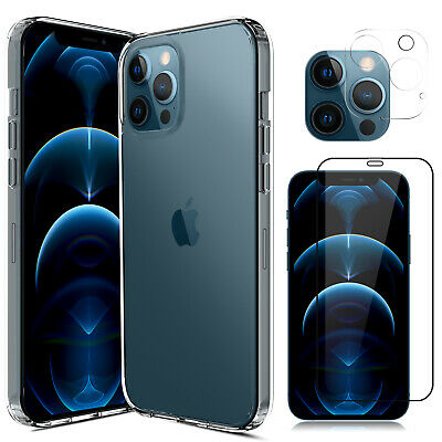 For iPhone 12ProMaxMini 5G Case Clear Slim CoverCamera Lens Screen Protector