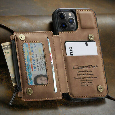 FOR iPhone 1211 Pro Max Leather Wallet with Zipper Magnet Flip Cover Card Case