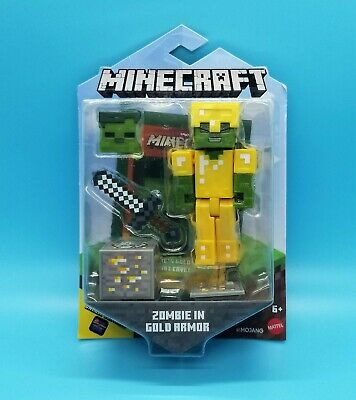MOJANG MINECRAFT ACTION FIGURE - ZOMBIE IN GOLD ARMOR w 2 FACES - RARE