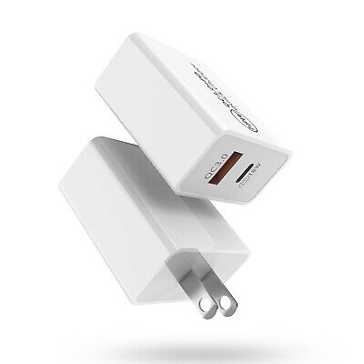 For iPhone 12 Pro Max 11 XR XS 18W USB Type-C Wall Fast Charger PD Power Adapter