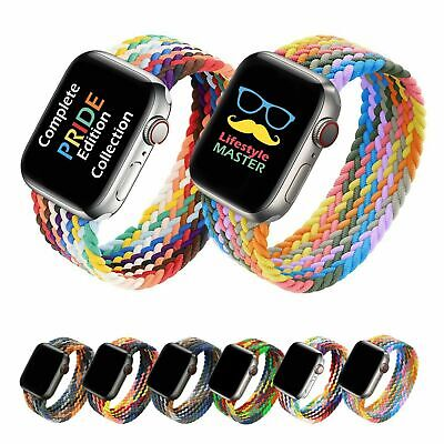 Braided Solo Loop Elastic Band Strap For Apple Watch iWatch SE Series 6 5 4 3 21