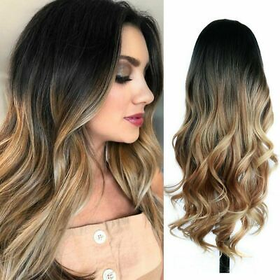 23 Golden Brown to Gold Ombre Long Wavy Curly Blonde Wig Womens Synthetic Hair