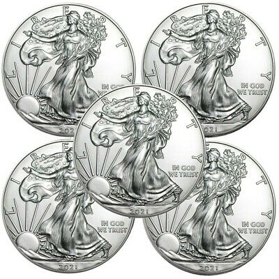 Lot of 5 - 2021 American Eagle Coins 1 oz .999 Fine Silver - IN STOCK
