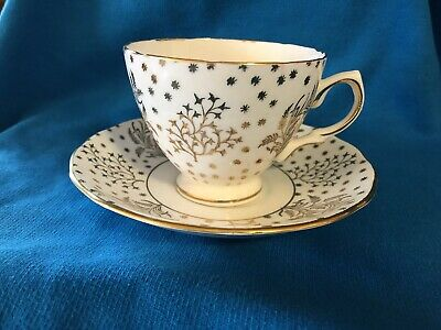 ROYAL VALE TEA CUP - SAUCER BONE CHINA MADE IN ENGLAND GOLD CHINTZ Numbered