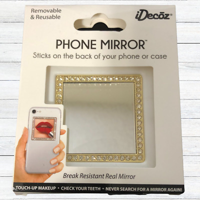 Cell Phone Mirror Gold Bling Square Crystals Peel And Stick New Glam idecoz
